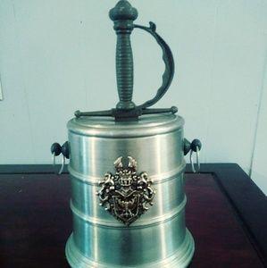 Vintage ice bucket with sword handle